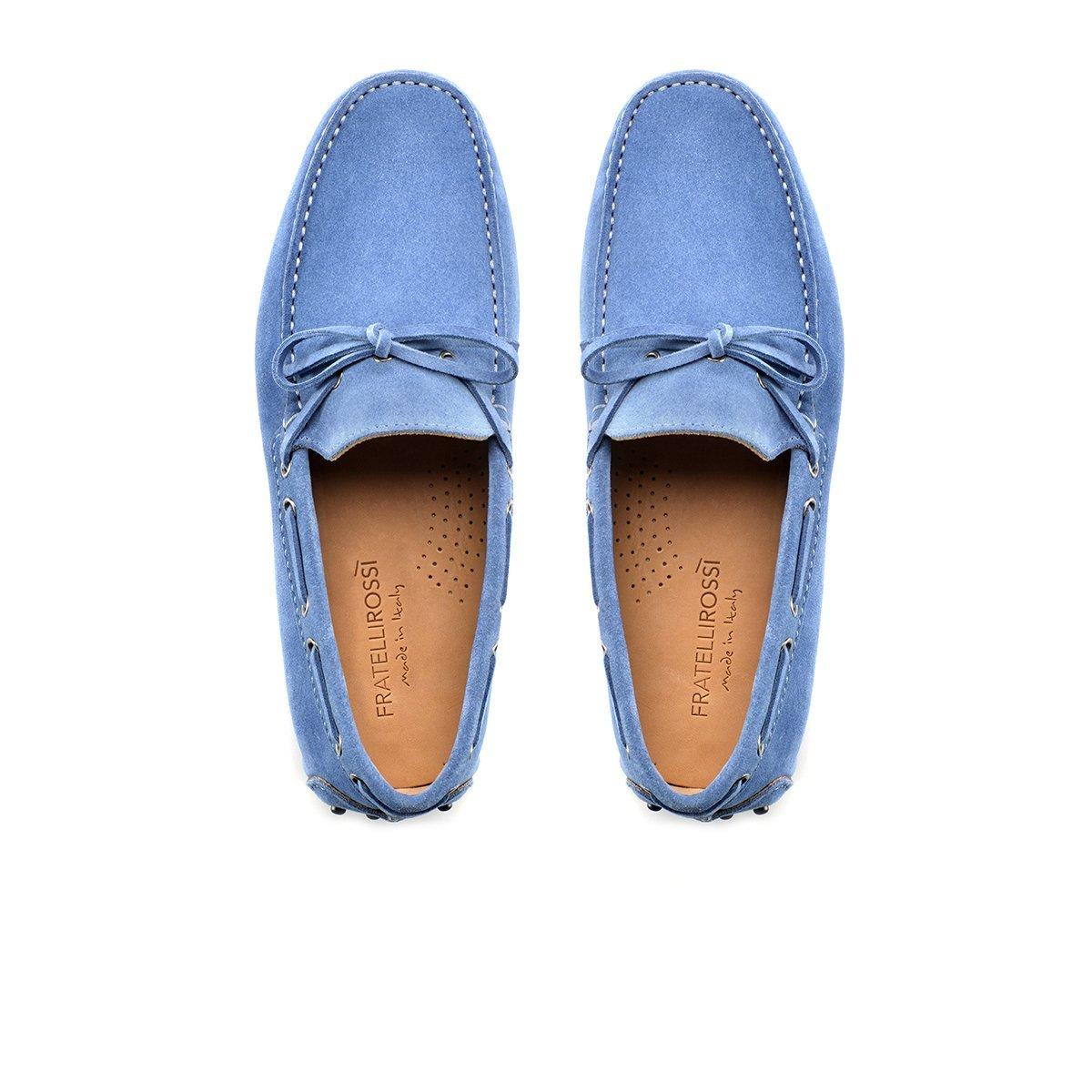 mocassini estivi artigianali leggeri da uomo in camoscio azzurro