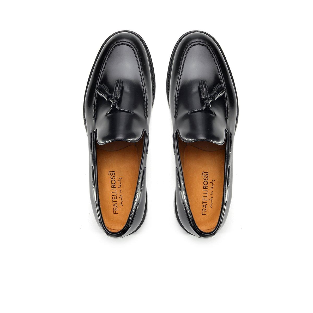 mocassini goodyear eleganti in pelle abrasivata nera